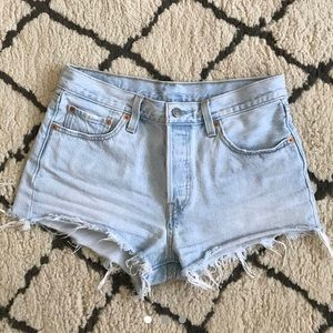 Levi's 501 light-wash denim cut-off shorts